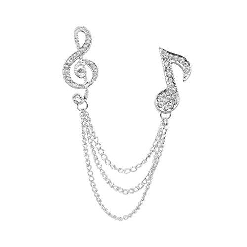Hellery Musiksymbol Kragenkette Brosche Collar Clip Pin Kette Modeschmuck Silber