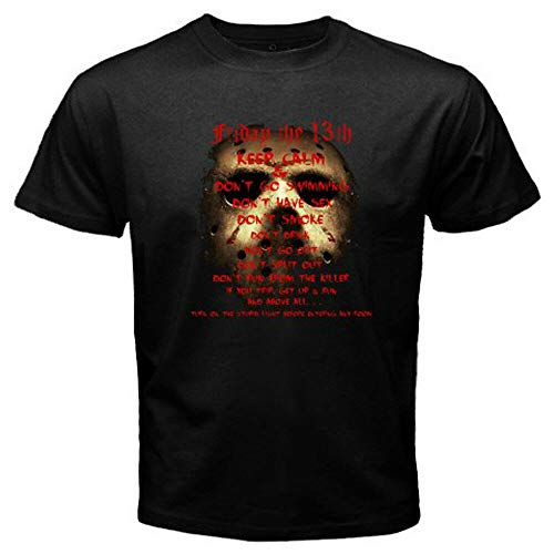 shuibei Jason Friday The 13th *Quote Horror Movie TV Show Men's Black T-Shirt Size S-3XLblackL