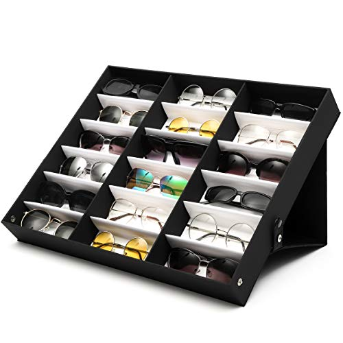 Juvale Black Sunglasses Case Organizer, 18 Slot Display Box (18.5 x 14.25 x 2.5 Inches)
