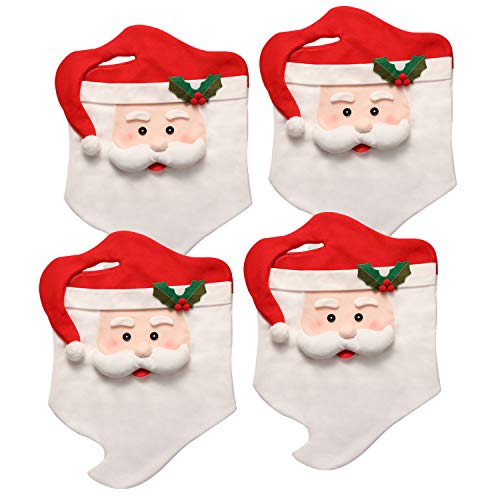 Christmas Dining Chair Slipcovers Chair Back Covers Xmas Decoration, Santa Claus Hat Design, Set of 6