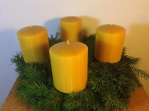 4 Stück Kerzen für den Adventskranz aus 100% Bienenwachs, 10 x 8 cm, Stumpen, handgemacht, Bienenwachskerze, gegossen, direkt vom Imker aus Deutschland, Bayern, von der Bienenbude.
