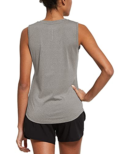 BALEAF Women's Workout Tank Tops Sleeveless Running Shirts Activewear Gym Tops Heather Light Gray Size XXL