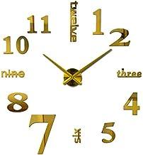 ساعة حائط كبيرة ثلاثية الابعاد تلصق على الحائط مصنوعة من الاكريليك بارقام وحروف وحركة كوارتز - لون ذهبي
