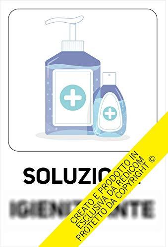 Generico Cartello Covid 19'Soluzione igienizzante - 20x30 cm - 3 Pezzi - Adesivo per Interni - ETCOV05