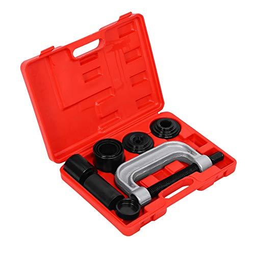 Joycelzen Kit de prensa de rótula, extractor profesional de rótula de alta resistencia con juego de herramientas de adaptador de servicio de montaje para vehículos, 4 x 4 s, 10 piezas en estuche rojo