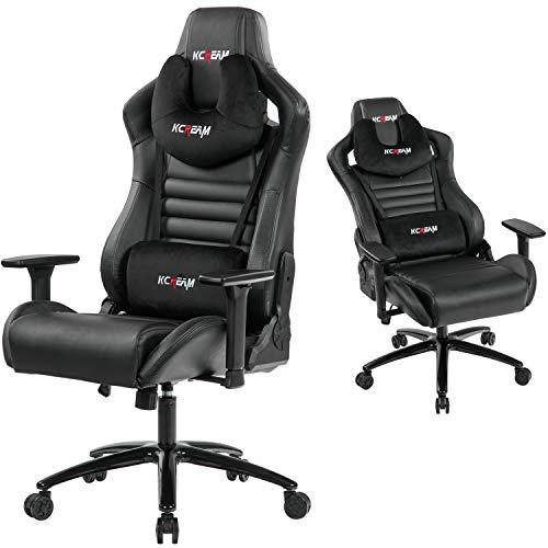 KCREAM Gaming Chair, großer ergonomischer Computerstuhl mit integrierter Fußstütze für die Lordosenstütze und verstellbarem Recliner PC-Gamer-Stuhl aus PU-Leder mit hoher Rückenlehne (8525-Schwarz)