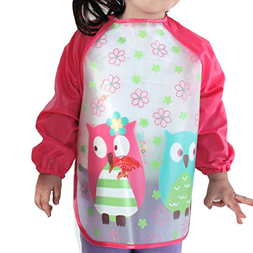 Price comparison product image Aisa Children Kids Waterproof Long-sleeved Smock Apron Bib for Eating Painting Red Owl