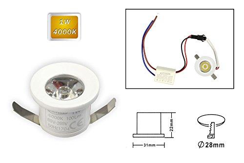 Vetrineinrete® Faretto led ad incasso 1 watt mini spot punto luce tondo luce naturale 4000 k driver 220v con bordo bianco p-31-bn E9