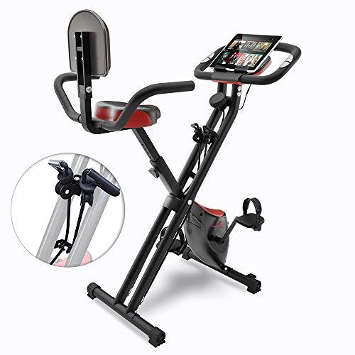 Sportstech Fitness Heimtrainer mit LCD-Konsole & Zugbandsystem | Deutsche Qualitätsmarke | Hometrainer Fahrrad mit Komfortsitz & Handpulssensoren | faltbares Bike für zuhause | X100-B klappbar