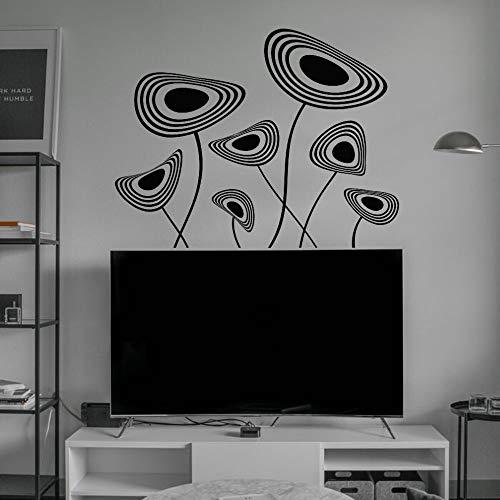 JXLLCD - Plato decorativo con diseño de flor abstracta, arte de pared, estética, decoración adhesiva de vinilo para casa y hotel, 57 x 44 cm