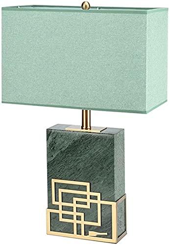 DZCGTP Lámparas de Mesa Lámpara de Mesa de mármol Indio Natural Nueva Moderna para el Dormitorio Sala de Estar con lámpara de Escritorio de Pantalla de Tela Rectangular Verde
