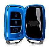 kwmobile Funda para Mando Compatible con Hyundai Kia Llave de Coche Keyless Go de 3 Botones - Funda TPU Llave con Botones de Llave de Auto - Azul Brillante