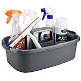 Cleaning Supplies Caddy, Cleaning Supply Organizer with Handle, Plastic Caddy for Cleaning Products, Under Sink Tool Storage Caddy, Gray
