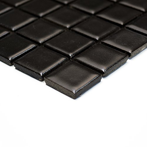 Piastrelle Mosaico Mosaico Piastrelle Ceramica pavimento nero cucina bagno quadrato 6mm nuovo # 225
