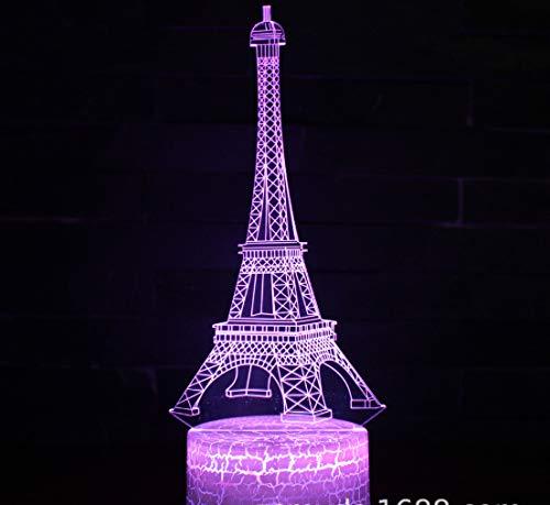 Weltberühmtes Gebäude Elfa Tower 3D Nachtlicht 7 Farben Hauptdekoration Tischlampe Rissbasis Led Touch Light 3D Illusionslicht
