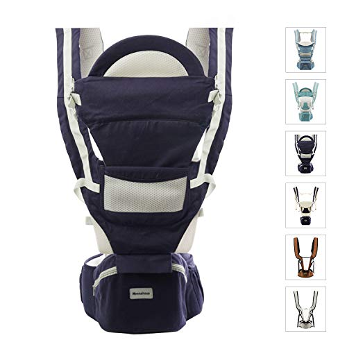 Baby Carriers with Hip Seat All Season Multifunctional Baby Soft Carrier Newborn to Toddler Baby Doll Carrier Front and Back for Men Women Travel Hiking Shopping Lumbar Support&Cool Air Mesh Darkblue1