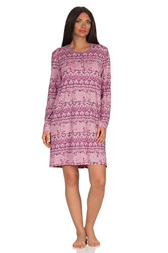 NORMANN WÄSCHEFABRIK Damen Nachthemd Langarm mit Knopfleiste - Sleepshirt im floralen Print - 291 213 90 419, Farbe:lila, Größe2:40/42