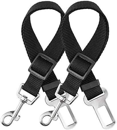 elloLife 2 Cinturón de Seguridad de Coche para Perros, Arnés del Cinturón de Nylon Ajustable Universal para trasporta...