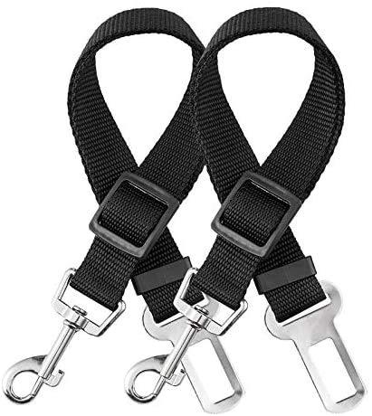 elloLife 2 Cinturón de Seguridad de Coche para Perros, Arnés del Cinturón de Nylon Ajustable Universal para trasportar Mascotas 2pcs/Pack Más Duradero【Versión Mejorada】