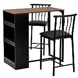 Juego de mesa de bar, 3 piezas, juego de mesa de desayuno, mesa de comedor y sillas para cafetería, bistro, sala de estar, 3 estantes de almacenamiento, marco de metal resistente (marrón)