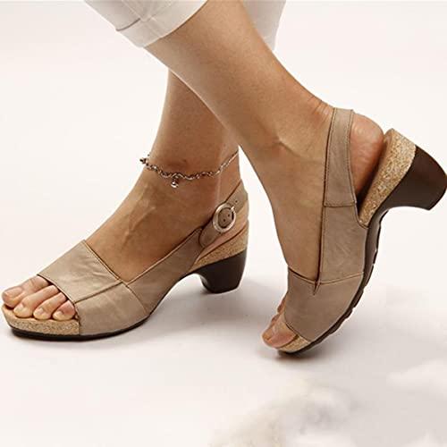 Rendeyuan Explosion Fashion Wild Diseño único Hebilla de un botón con Sandalias Zapatos de tacón Medio Zapatos Ligeros de Mujer de tacón Medio - Caqui - 39