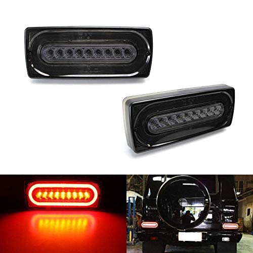 iJDMTOY Smoked Lens Dynamic Sequential Blink Laser Style Full LED Turn Signal Light Tail Lamps Compatible With 1999-18 Mercedes W463 G-Class G500 G550 G55 G63 AMG (2019 G Design)