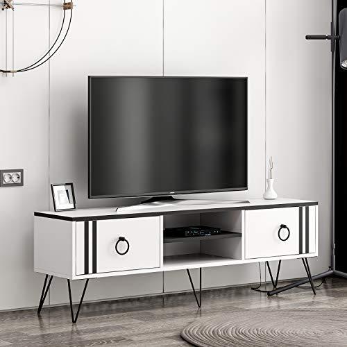 Rumba Wohnwand - TV Lowboard - TV Board - Fernsehtisch in Modernem Design (Weiß / Schwarz)