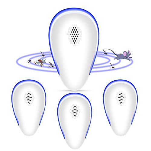 MGRETT Repelente Ultrasonico de Plagas, 2021 Ahuyentador de Ratones Ultrasonidos, Repelente Mosquitos Ahuyentador para Interiores Anti Cucarachas, Mosquitos, Ratones, Arañas (4 Pack)