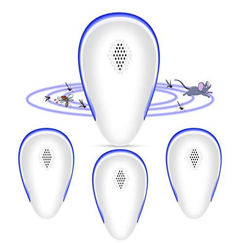 MGRETT Repelente Ultrasonico de Plagas, 2021 Ahuyentador de Ratones Ultrasonidos, Repelente Mosquitos Ahuyentador para Interiores Anti Cucarachas, Mosquitos, Ratones, Arañas (Azul)