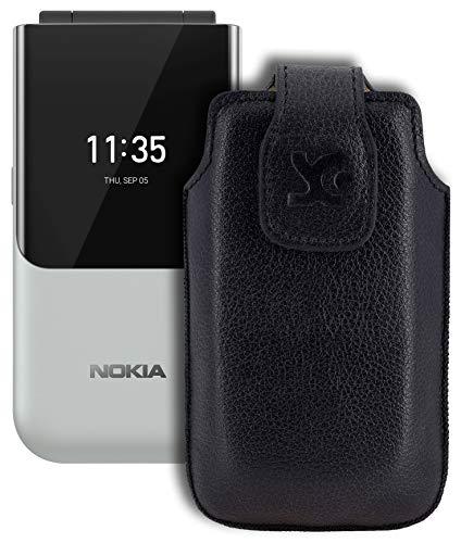 Suncase Original Tasche kompatibel mit Nokia 2720 Flip Hülle Leder Etui Handytasche Ledertasche Schutzhülle Hülle in vollnarbiges-schwarz