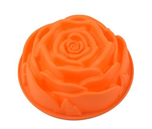 Moule à gâteau anti-adhésif en silicone en forme de rose, 22,9 cm