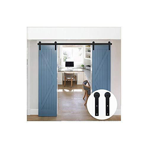LWZH 10FT/305cm Schiebetuerbeschlag Set Sliding Barn Door Hardware Kit für Doppeltür Scheunentore Schwarze I-Förmige