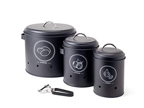 Hanseküche Vorratsbehälter Set mit Sparschäler - Hochwertiger Kartoffeltopf, Zwiebeltopf und Knoblauchtopf zur Aufbewahrung von Gemüse in Schwarz - Stilvolle Vorratsdosen für die Küche (Schwarz)