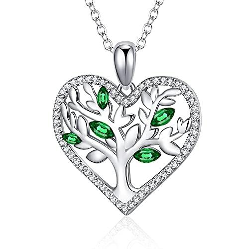 Jrêveinfini Collar Árbol de la Vida con Circonita Amor Corazón Colgante Collares de Plata Ley 925 para Mujer