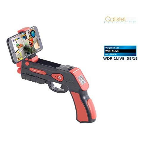 """Callstel Argun: Augmented-Reality-Pistole mit Bluetooth, für Smartphones bis 5,5\"""" (Handy Pistole)"""