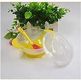 Ideacherry Kindergeschirr Baby Lerngeschirr mit Saughilfe Futternapf Temperaturmesslöffel Babygeschirrsets, gelb