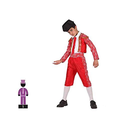 Cisne 2013, S.L. Disfraz de 5 Piezas para Carnaval Infantil niño de Torero Color Rojo Talla 5-6 años de niño y niña. Cosplay niño Carnaval.