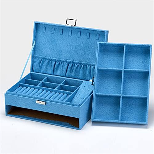 JTKJ Caja de almacenamiento de joyería de múltiples capas tipo cajón adecuado para almacenamiento de anillos, pendientes, collares y pulseras azul 27 cm x 19 cm x 10,5 cm