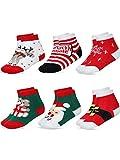 6 Pairs Baby Kids Cartoon Christmas Socks Cute Cotton Crew Socks for Girls Boys