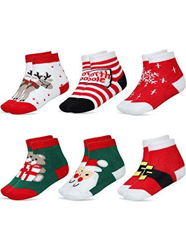 SATINIOR 6 Pares Calcetines de Dibujos Aanimados de Navidad de Bebé Niños Calcetines Lindos de Algodón para Niñas Niños