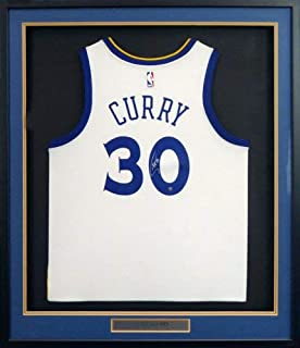 Golden State Warriors Stephen Curry Autographed Framed Nike White Jersey Steiner Holo #Ss307639