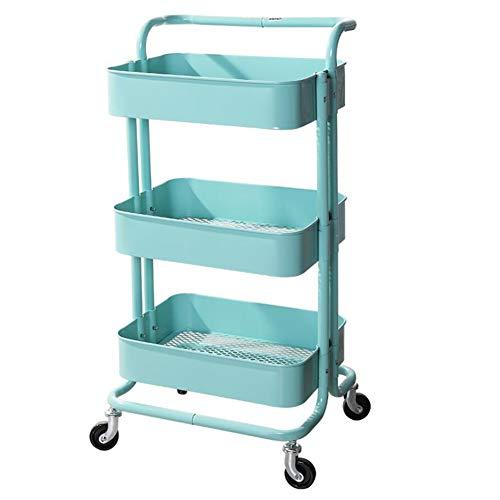 YCSD Carrito con Bloquear Ruedas,Carrito Auxiliar con 3 Nivel para La Cocina,baño,Dormitorio De Almacenamiento(Color:Azul)