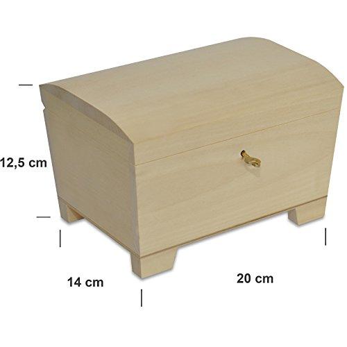 Creative Deco Große Holz-Kiste mit Deckel, Schloss und Schlüssel für Schmuck-Stücke | 20 x 14 x 12,5 cm | Abschließbare Holz-Box für kleine Gegenständen | Perfekt für Aufbewahrung und Dekoration - 3