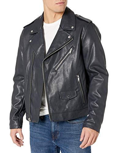 DKNY Men's Classic Asymmetrical Faux Leather Motorcycle Jacket, Navy, X-Large