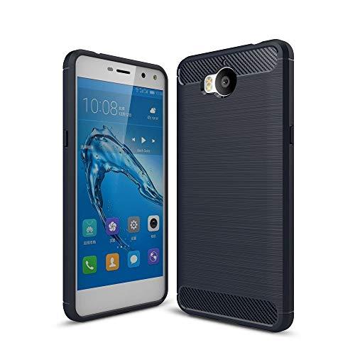 König Design Handy-Hülle kompatibel mit Huawei Y5 (2017) Silikon Hülle Hülle Sturzsichere Back-Cover Handyhülle - Carbon - Blau
