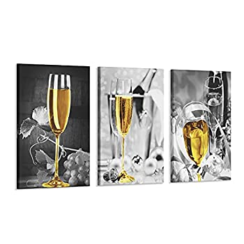 3 Pcs Wine Wall Art for Kitchen Decor Black and White Canvas Wine Glasses Paintings Wall Art Pictures with Wood Inner Frame for Dining Room Yellow Kitchen Decor and Accessories  B,12X16Inchx3Pcs