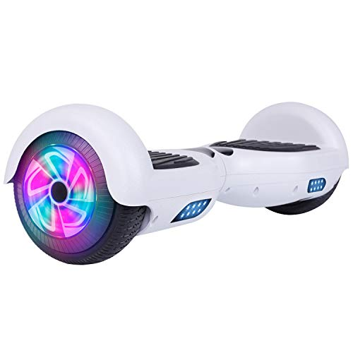 Felimoda Self Balancing Hoverboards with LED Light, 6.5 Inch Two Wheel Smart Electric Scooter for Kids and Adults-UL2272 Certified(White)
