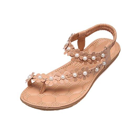 SANFASHION Große Förderung Damen Summer Bohemia Flower Beads Flip-Flop Schuhe Flache Sandalen (38, KhakiA)