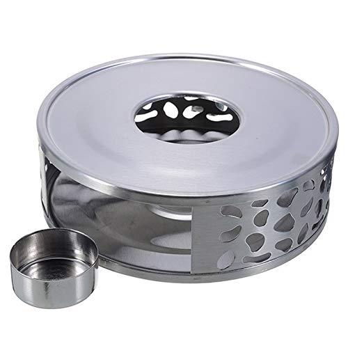 tonguk Edelstahl Teekanne Wärmer Basis mit Hohlrahmen Design Kerzenhalter, Tee Gemütliche Kaffee Wärmer Basis mit Teelicht Kerzenhalter für Tee und Kaffeekannen
