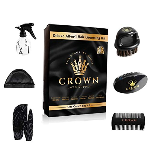 Crown Box – Men's Grooming Kit – 7 in 1 Kit Includes: 2 Durags, Wave Brush, Beard Brush, Crown Brush, Wood Comb, Spray Bottle, Wave Cap, 360 wave kit for men